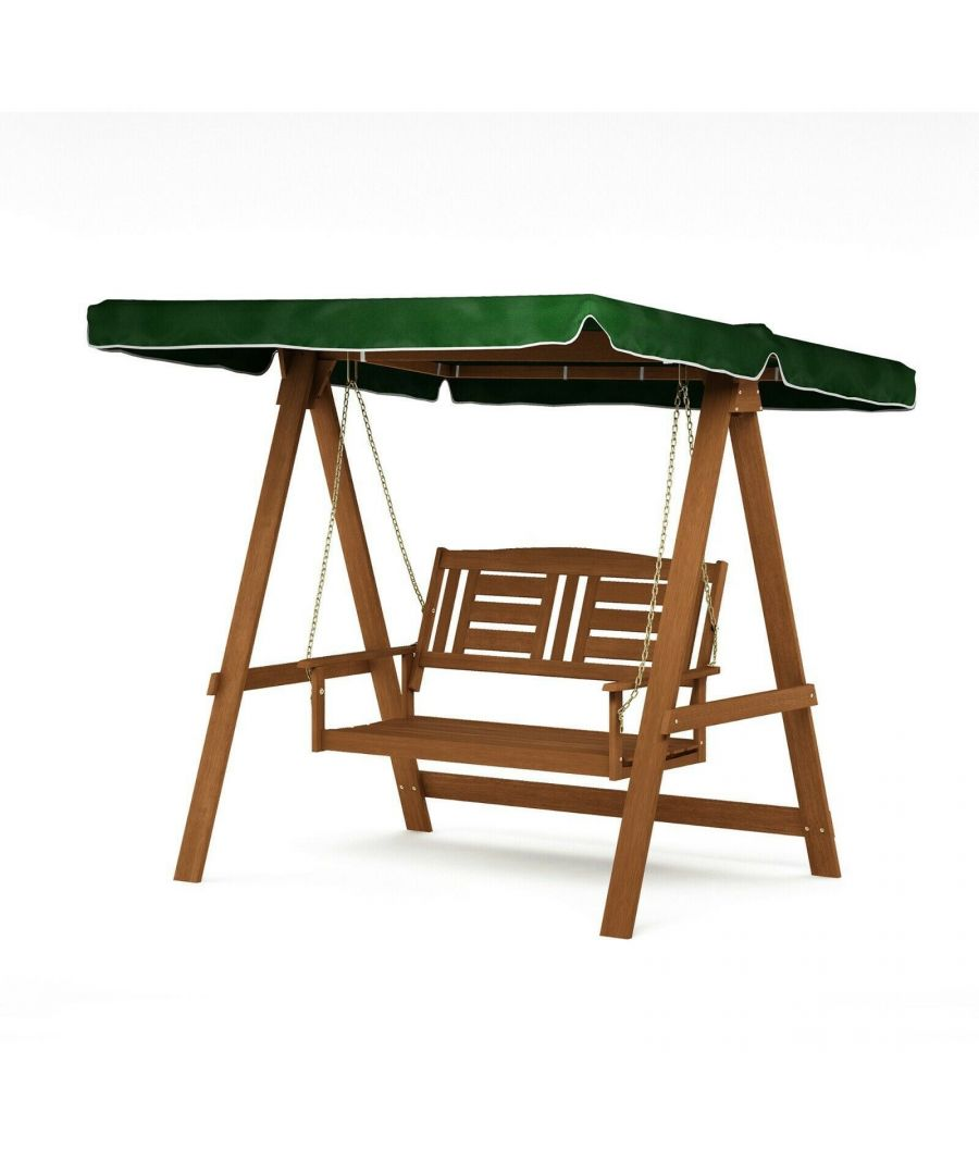 Image for Furinno Tioman Hardwood European Swing with Canopy, Natural, Garden furniture, Outdoor furniture