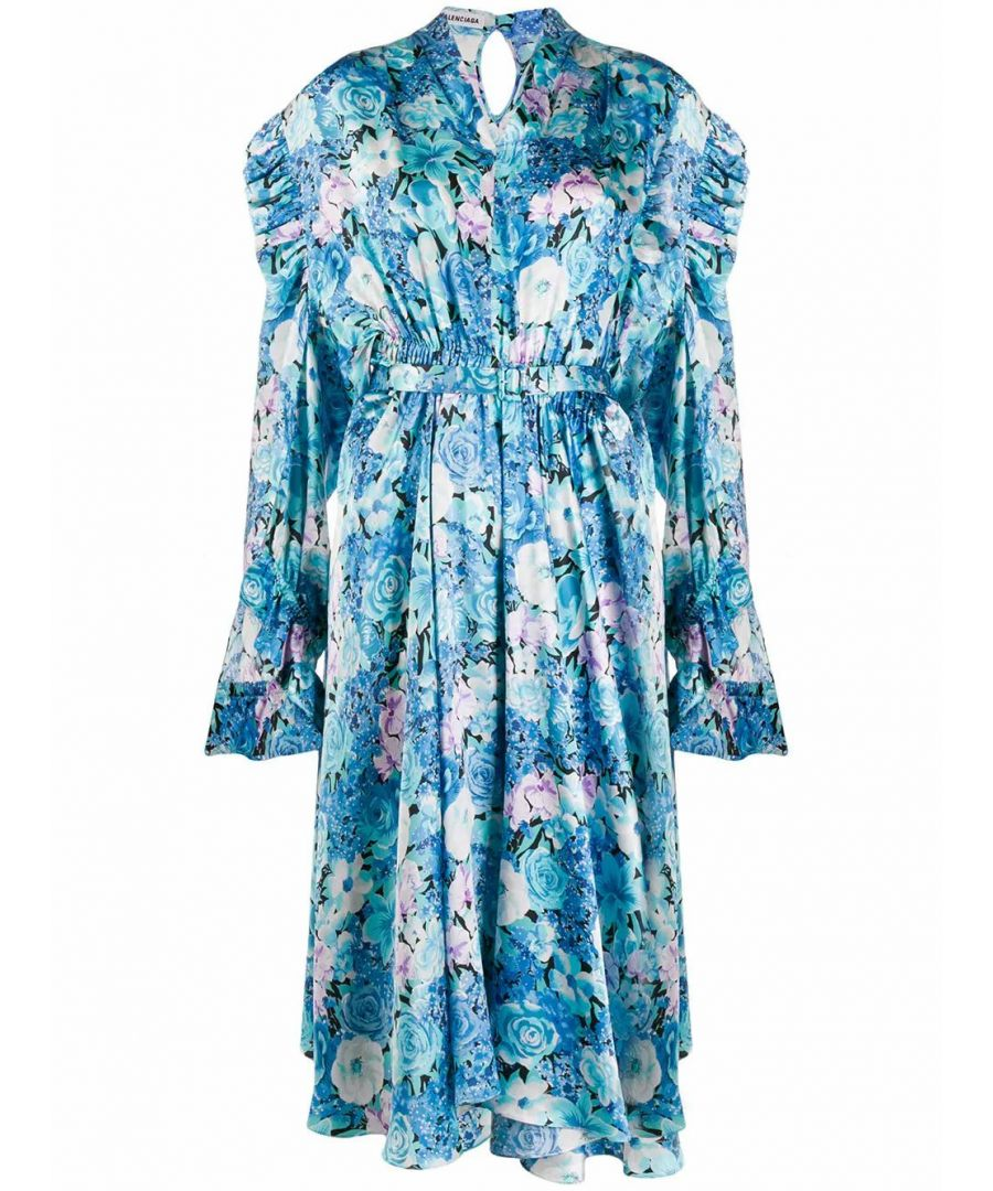Image for BALENCIAGA WOMEN'S 621419TILB44011 BLUE SILK DRESS