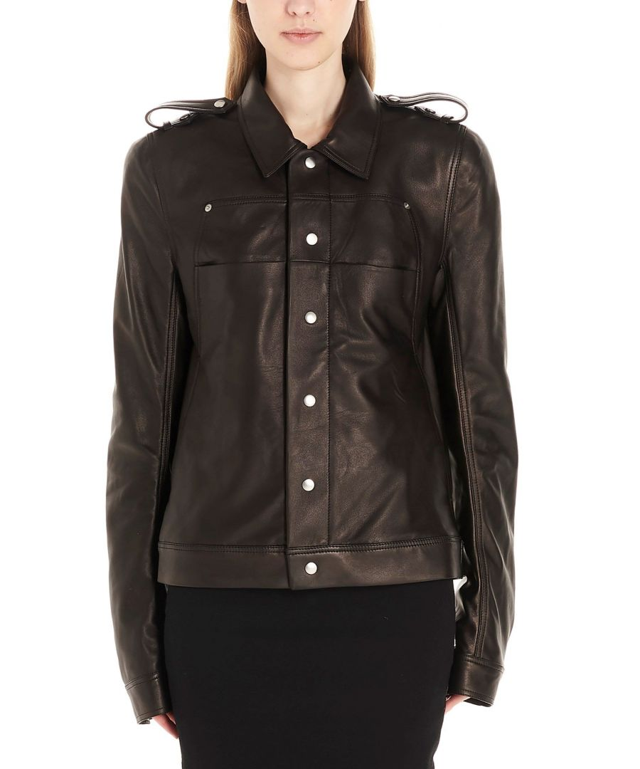 Image for RICK OWENS WOMEN'S RP20S1769LLP09 BLACK LEATHER OUTERWEAR JACKET