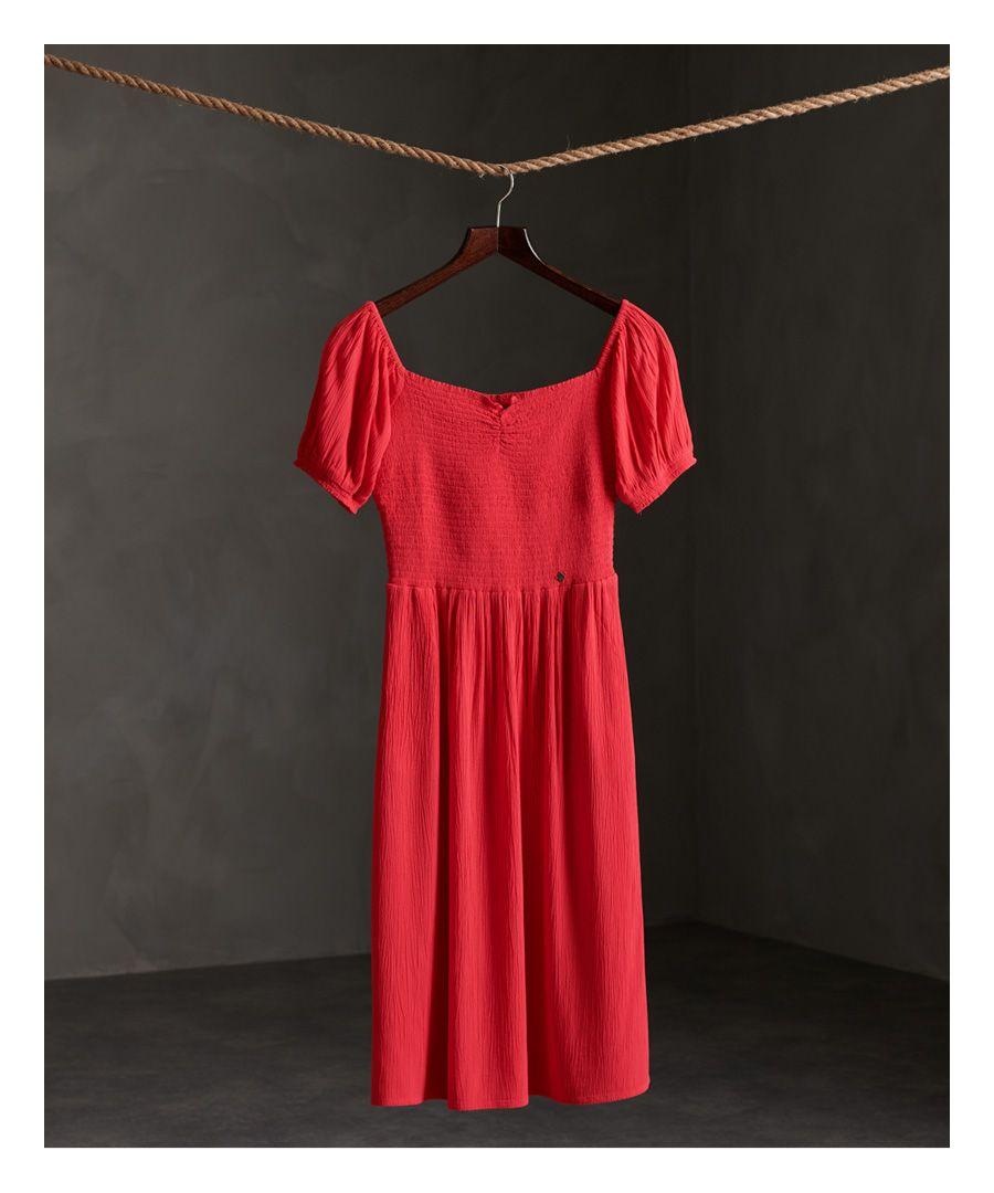 Image for Superdry Kala Smocked Midi Dress