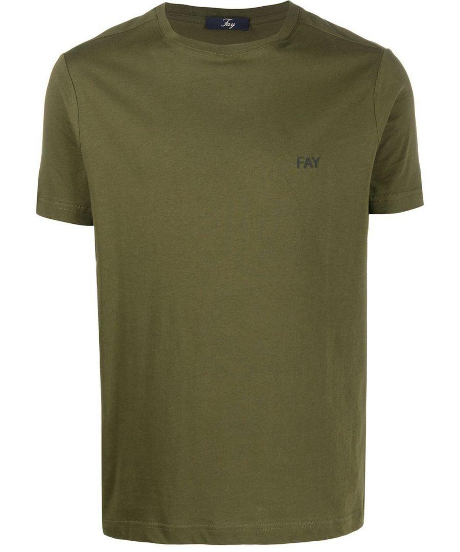 Image for FAY MEN'S NPMB3401300PKUV616 GREEN COTTON T-SHIRT