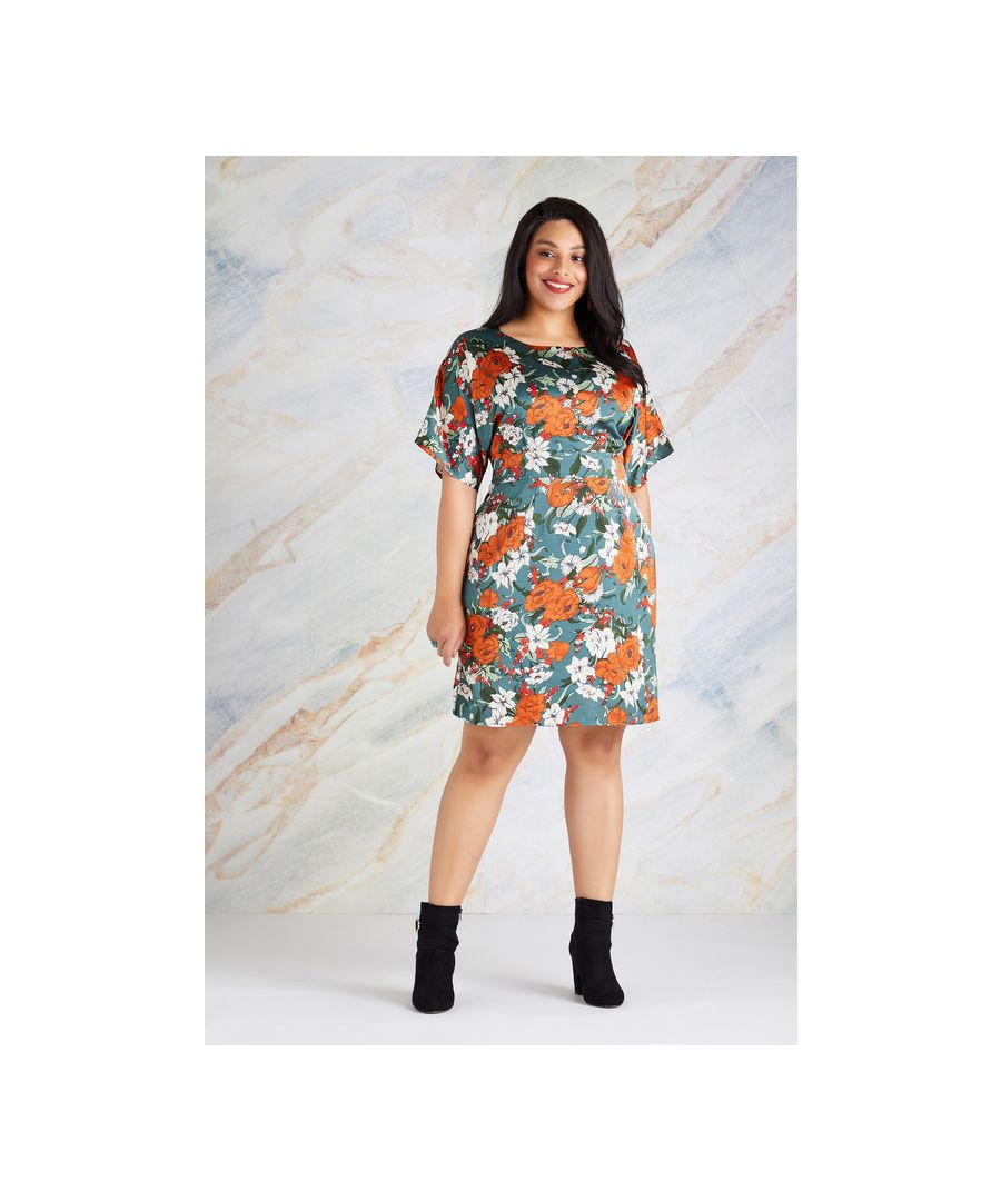 Image for Green Yumi Curves Floral Belted Kimono Sleeve Dress