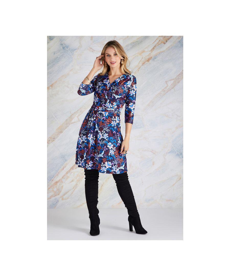 Image for Navy Autumn Crane Print Wrap Dress
