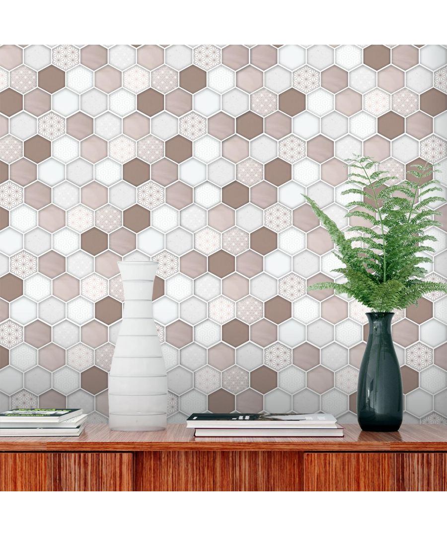 Image for Honey  Hexa Brown Glossy DIY Self Adhesive 3D Tile Stickers 30 x 15cm (11.8in x 6 in) - 12pcs in a pack, 3D Tiles Wall Stickers, Kitchen, Bathroom, Living room, peel and stick