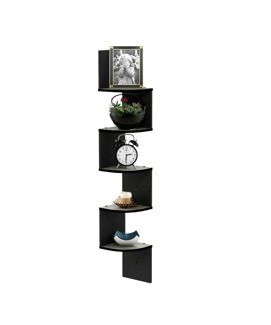 Image for Furinno Rossi 5-Tier Wall Mount Floating Radial Corner Shelf, French Oak Grey