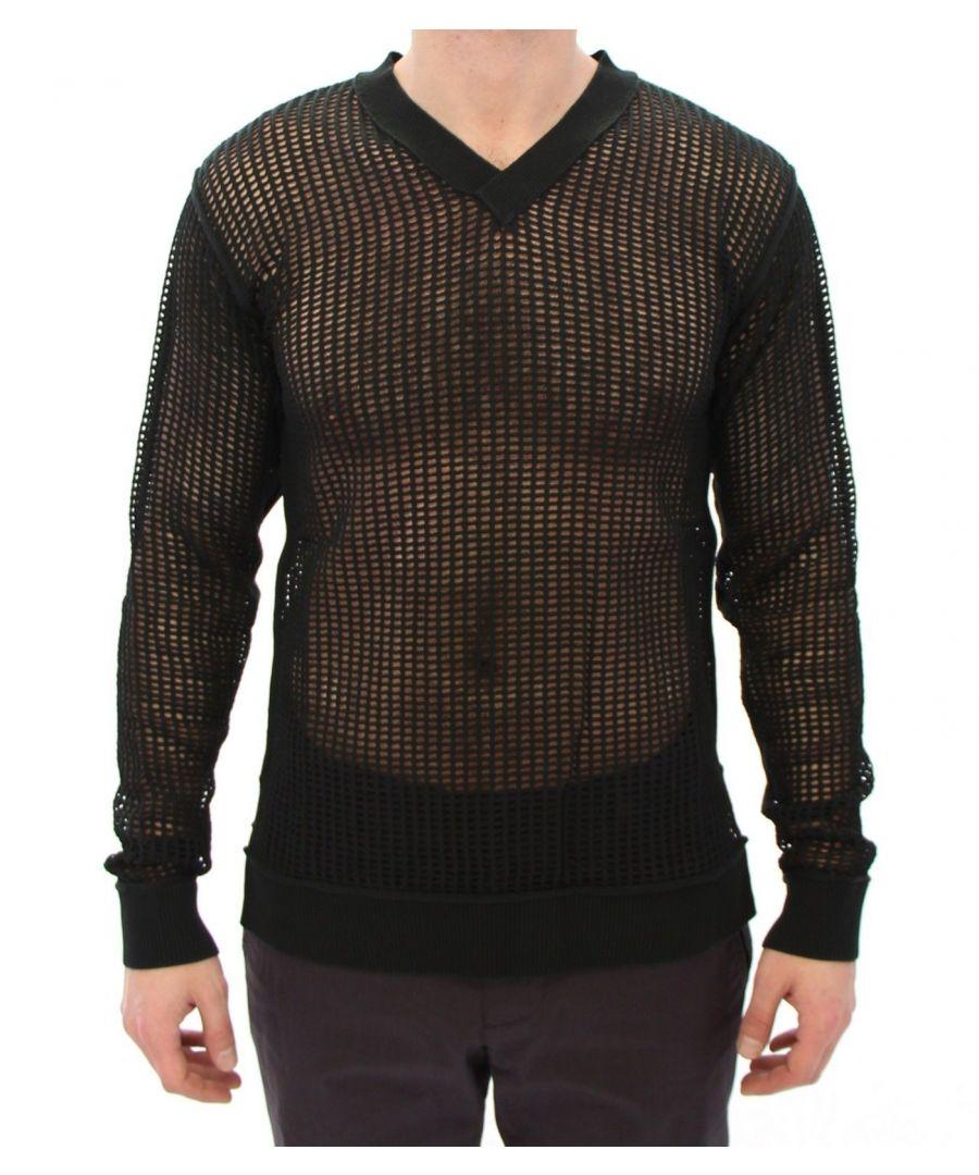 Image for Dolce & Gabbana Dark Green Runway Netz Pullover Netted Sweater