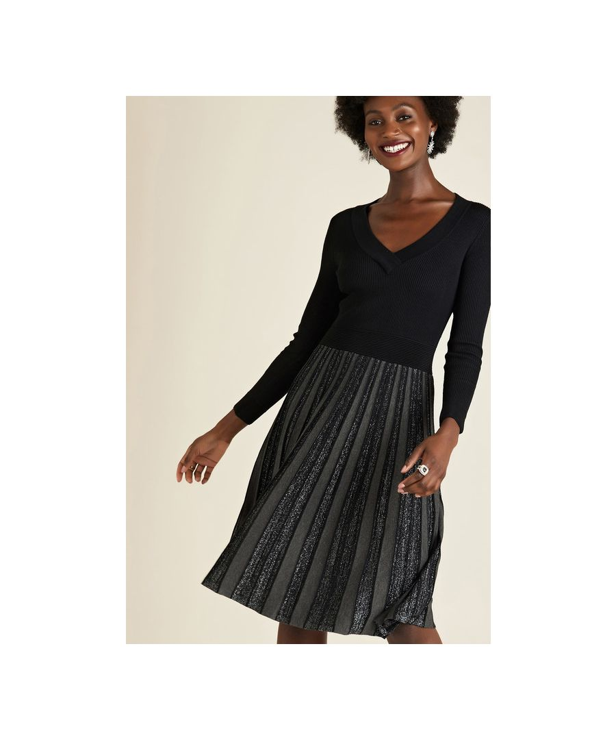 Image for Black Knit Dress With Pleated Skirt
