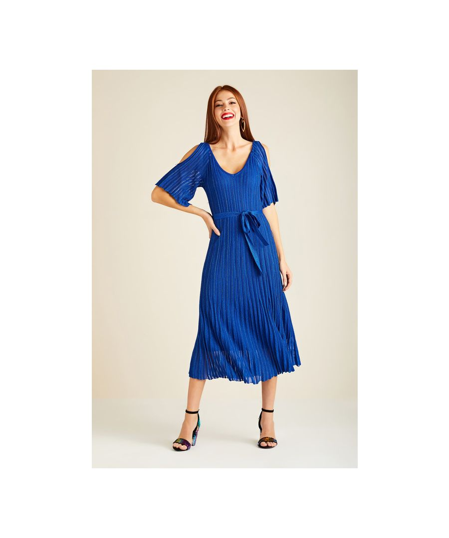 Image for Blue Cold Shoulder Pleated Midi Knit Dress