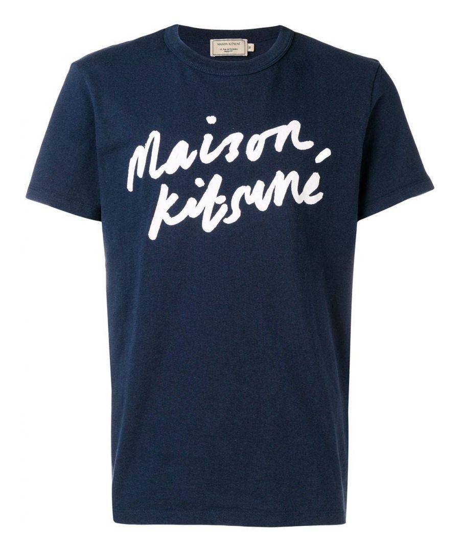 Image for MAISON KITSUNÉ MEN'S AM00104KJ0008NA BLUE COTTON T-SHIRT