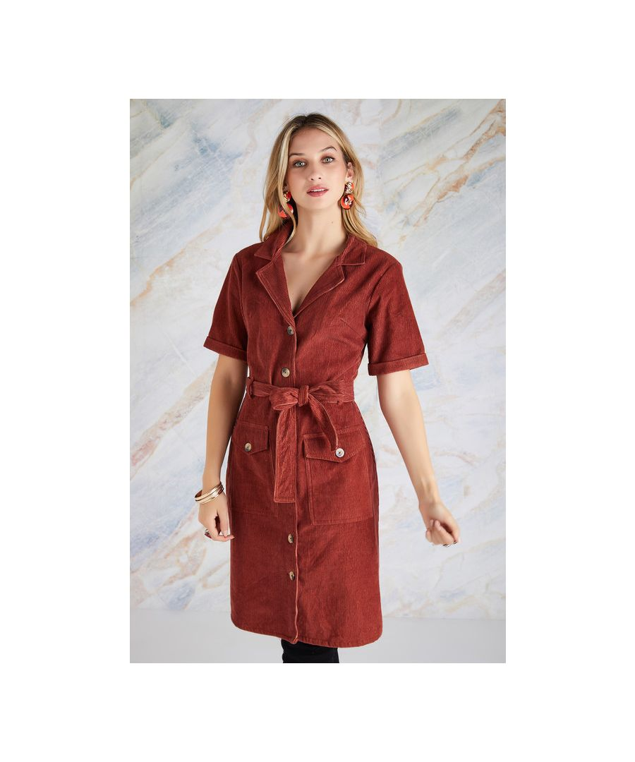 Image for Rust Cord Shirt Dress With Pocket Detail