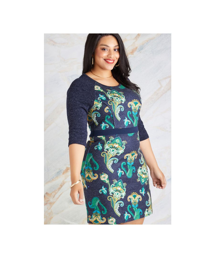 Image for Navy Plus Size Indian Paisley Skater Dress