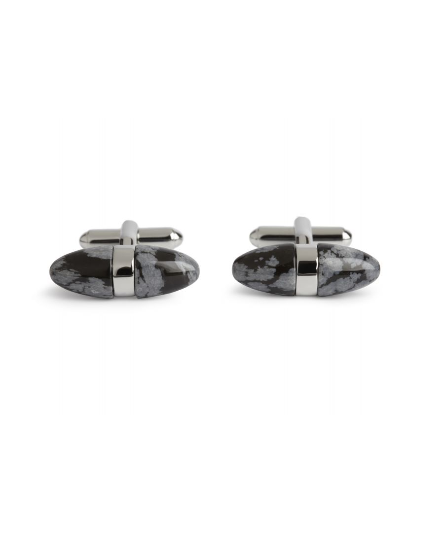 Image for Snowflake Obsidian Egg Cufflinks