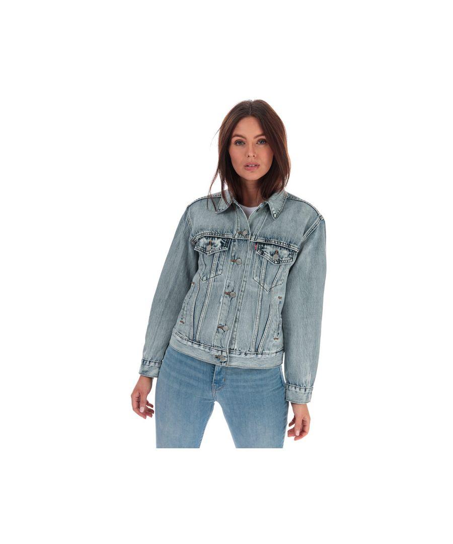 Image for Women's Levis Ex-Boyfriend Trucker Jacket Light Blue 6in Light Blue