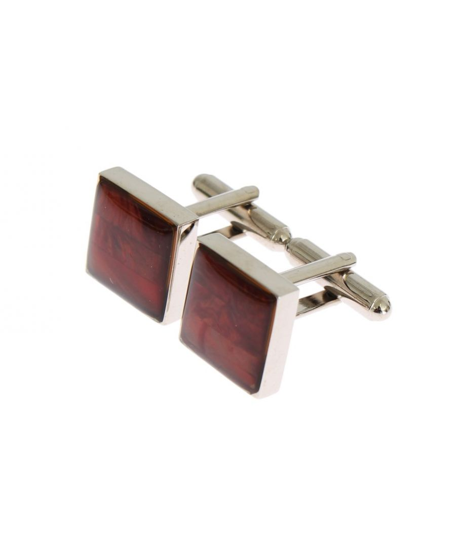 Image for Dolce & Gabbana Silver Brass Square Red Stone Cufflinks