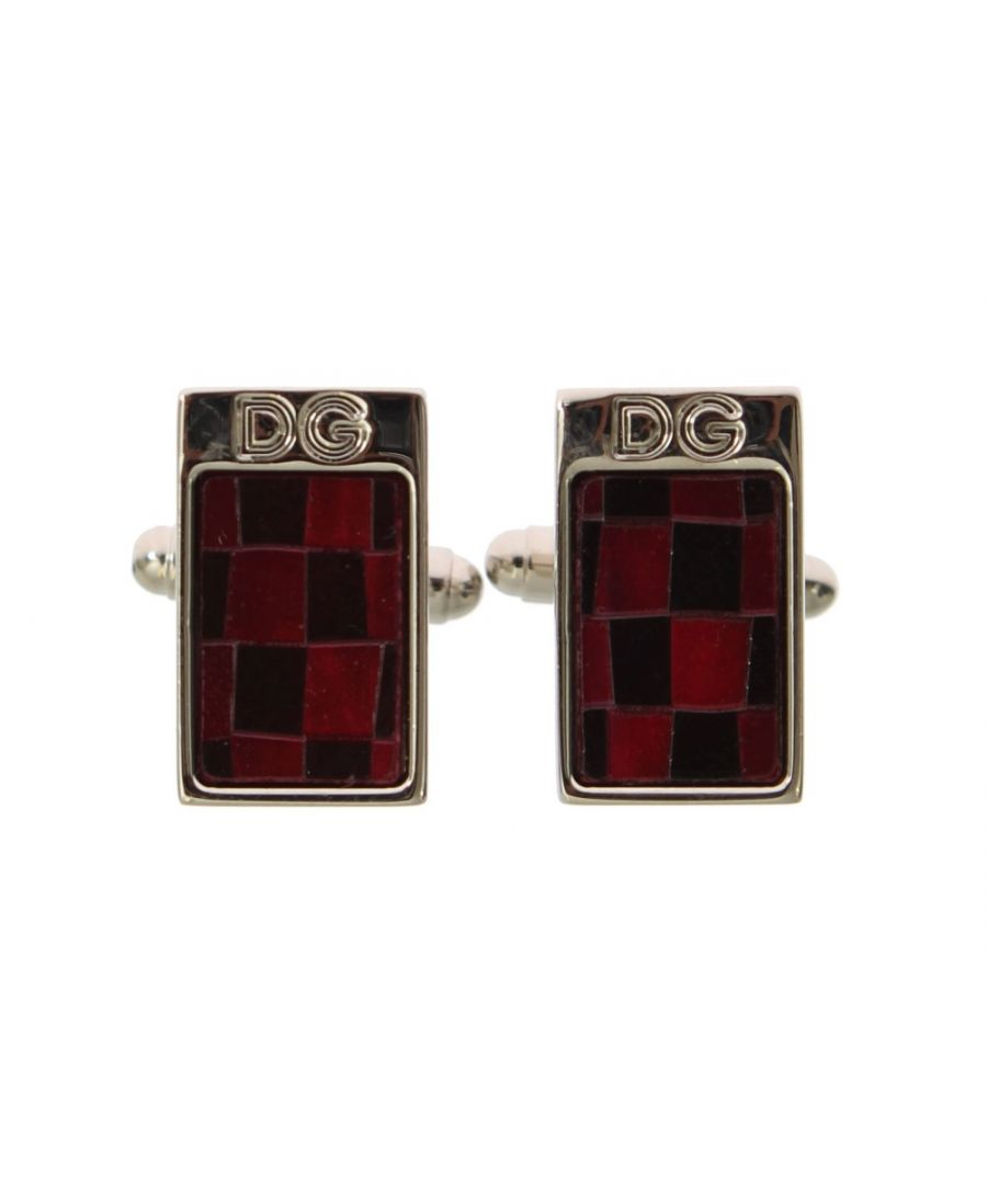 Image for Dolce & Gabbana Silver Brass Black Red Stone Cufflinks