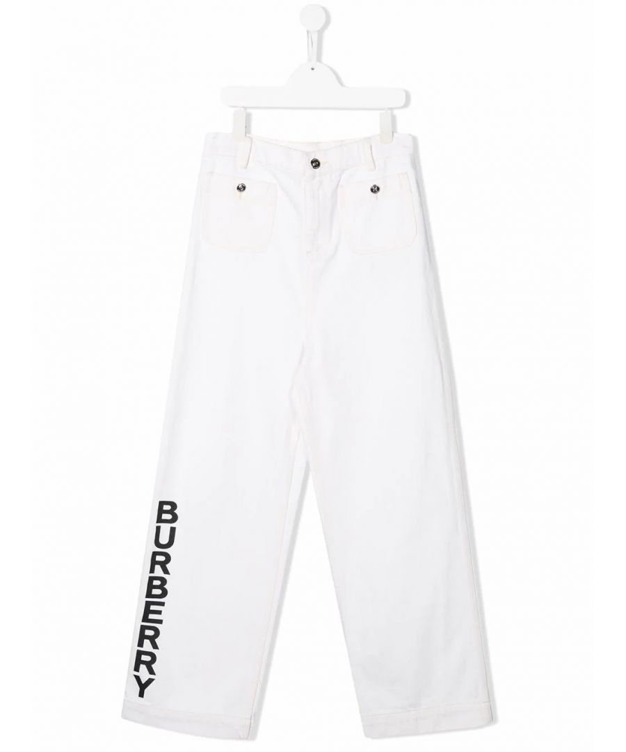 Image for BURBERRY GIRLS 8026387 WHITE COTTON PANTS