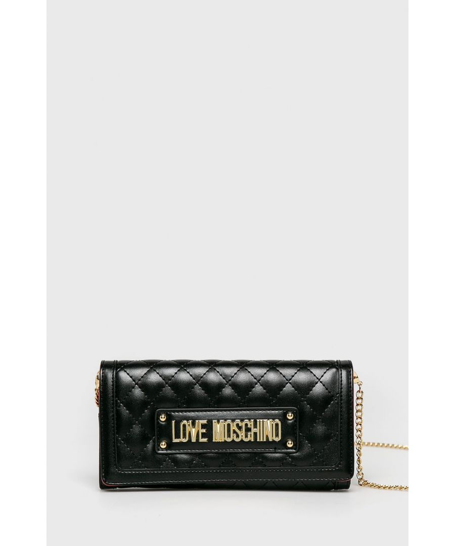 Image for Love Moschino Quilted Gold Chain Large Wallet in Black