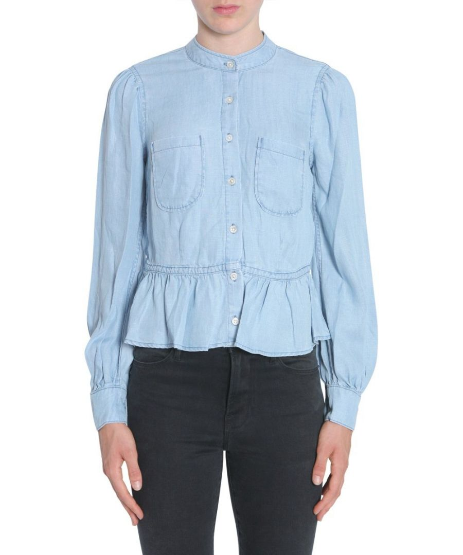 Image for FRAME WOMEN'S LWSH0369ROWA LIGHT BLUE COTTON SHIRT