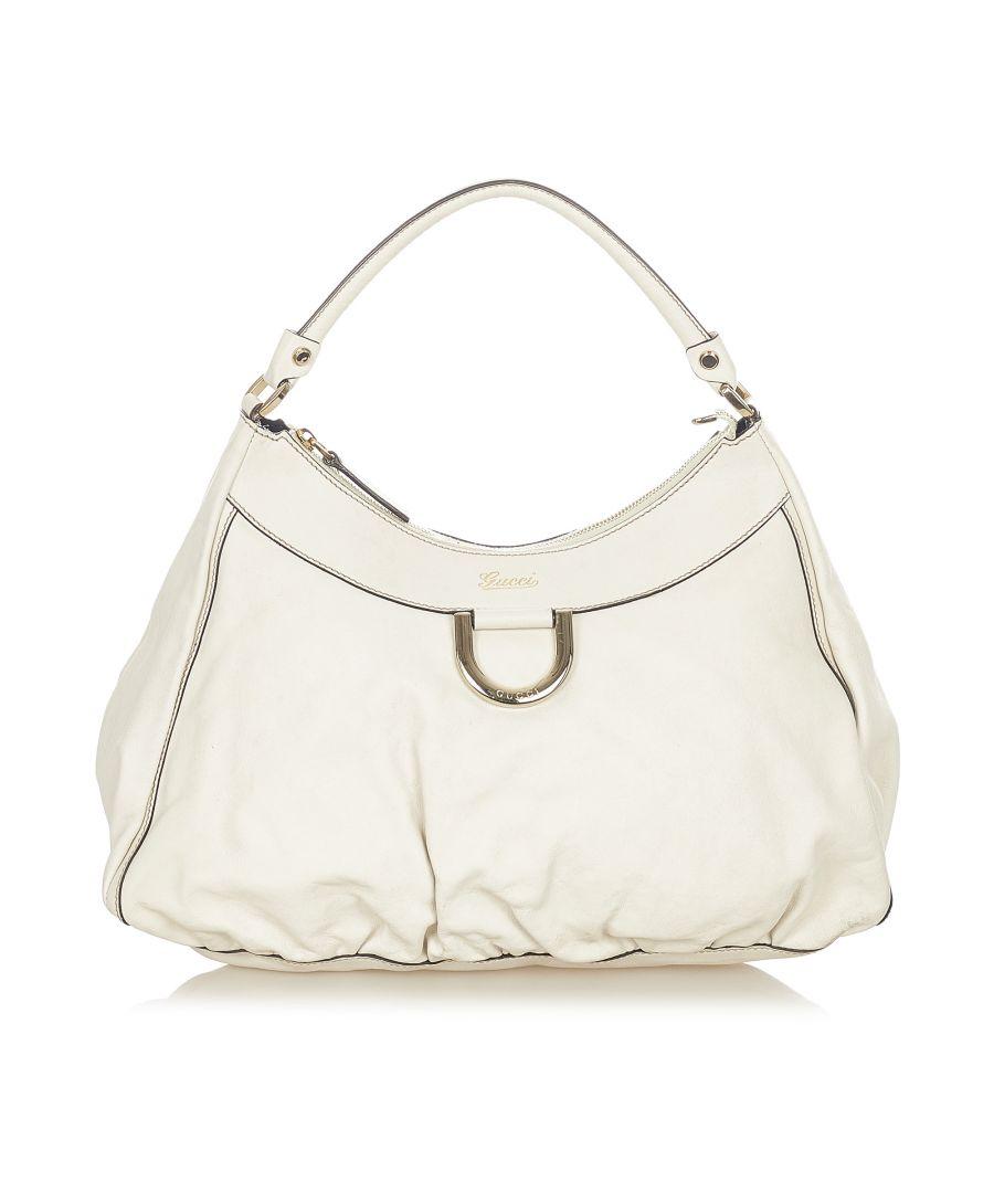 Image for Vintage Gucci Guccissima Abbey D-Ring Shoulder Bag White