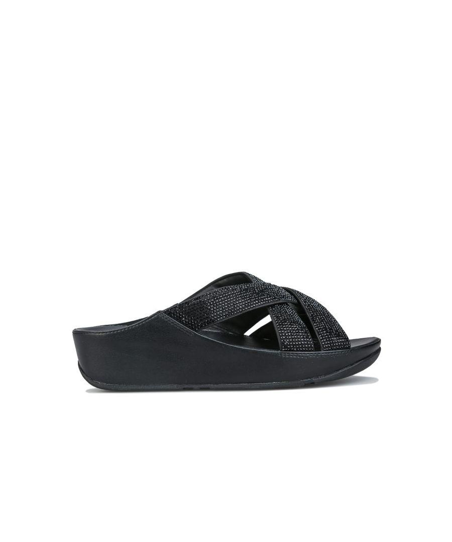 Image for Women's Fit Flop Lattice Microfibre Toe Post Sandals in Black