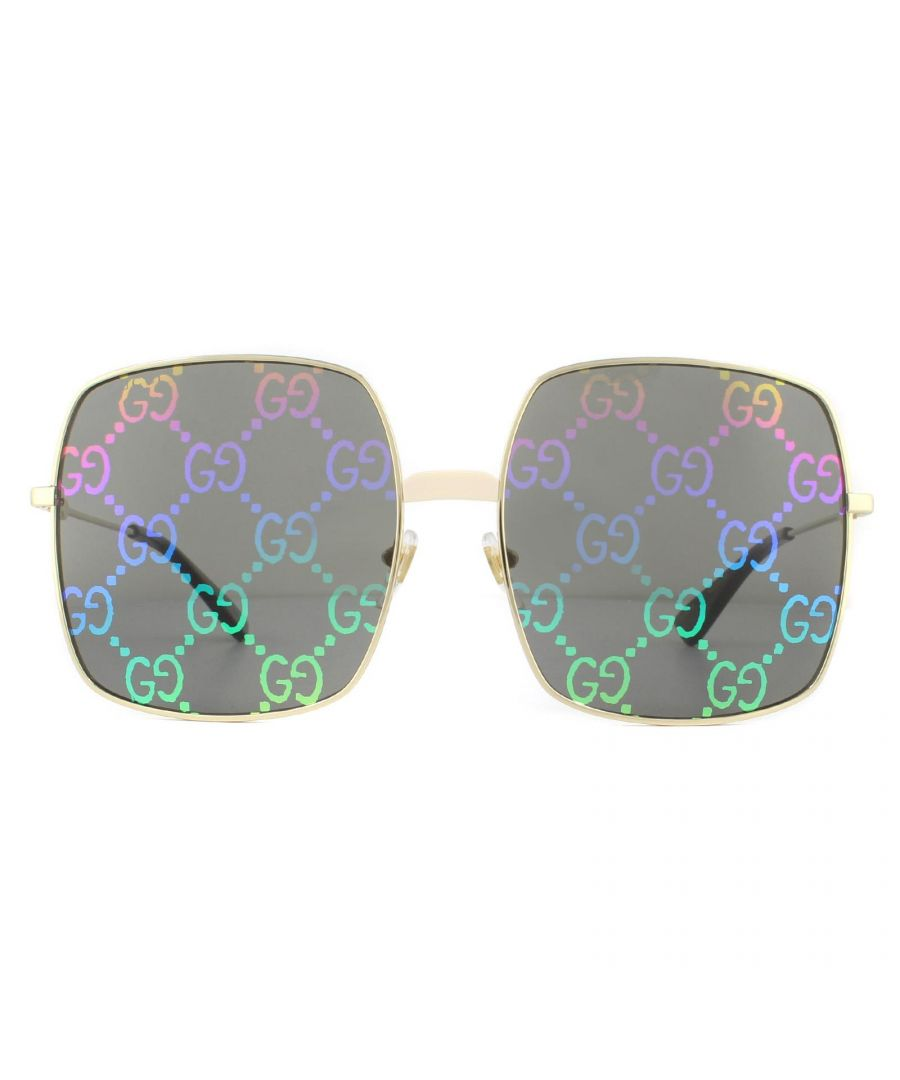 Image for Gucci Sunglasses GG0414S 003 Gold Grey with Multicolour Gradient Mirror