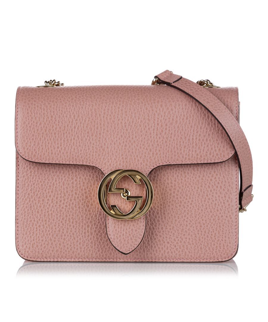 Image for Vintage Gucci Interlocking G Chain Leather Crossbody Bag Pink