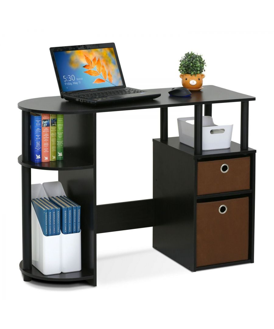 Image for Furinno JAYA Simplistic Computer Study Desk with Bin Drawers - Espresso