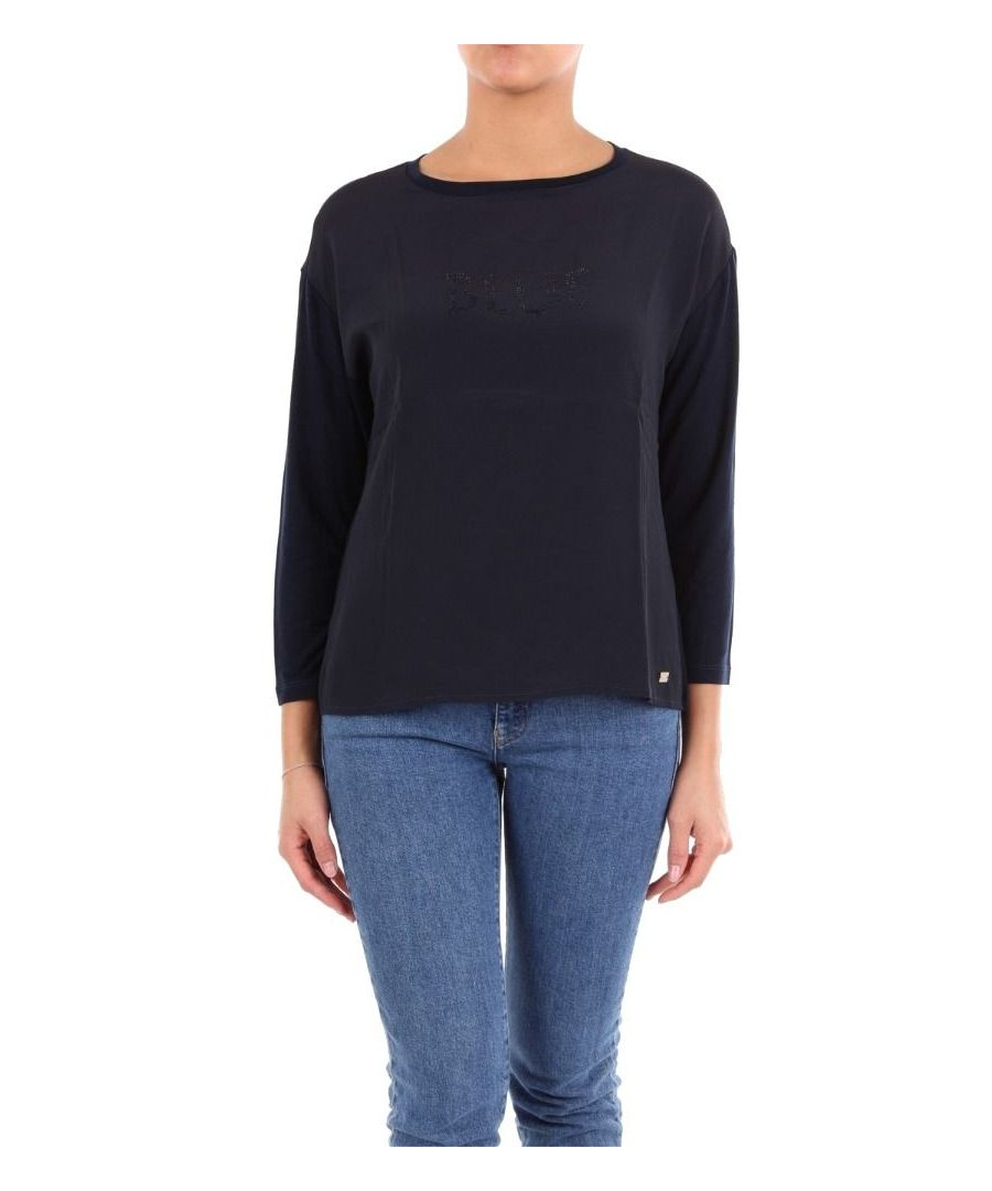 Image for LES COPAINS WOMEN'S 0J9090BLU BLUE VISCOSE JUMPER