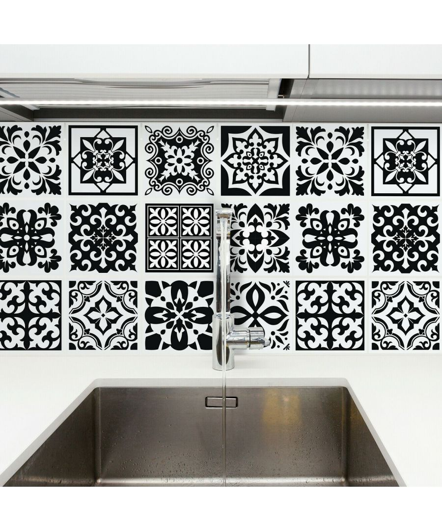 Image for Calli Black and White Mediterranean Wall Tile Sticker Set - 15 x 15 cm (6 x 6 in) - 24 pcs Tiles Wall Stickers, Kitchen, Bathroom, Living room