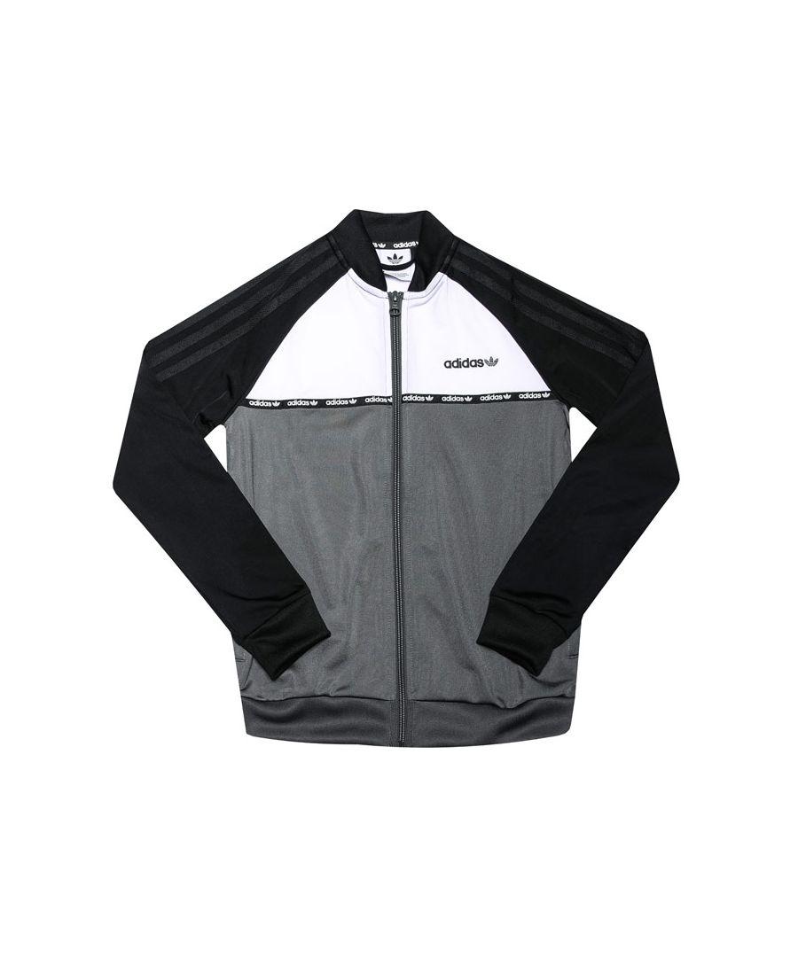 Image for Boys' adidas Originals Junior Track Top Black Grey White 11-12in Black Grey White
