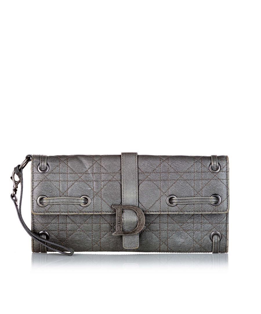 Image for Vintage Dior Cannage Leather Wallet Gray