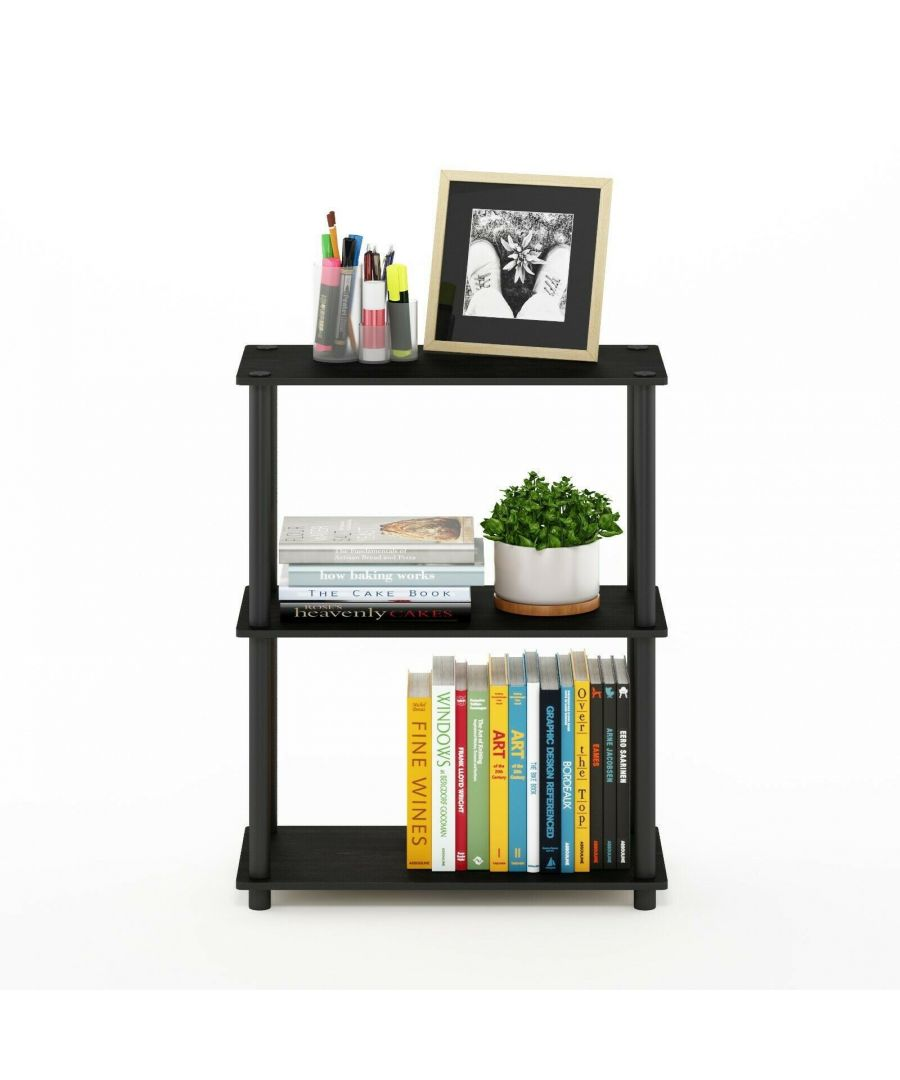 Image for Furinno Turn-N-Tube 3-Tier Compact Multipurpose Shelf Display Rack - Americano with Black Tubes