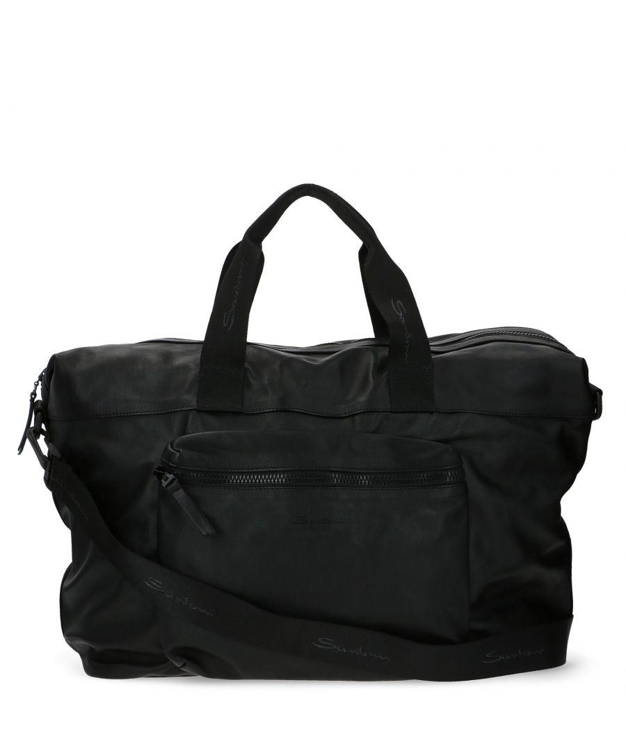 Image for SANTONI MEN'S UIBBA1871TRN01 BLACK LEATHER TRAVEL BAG