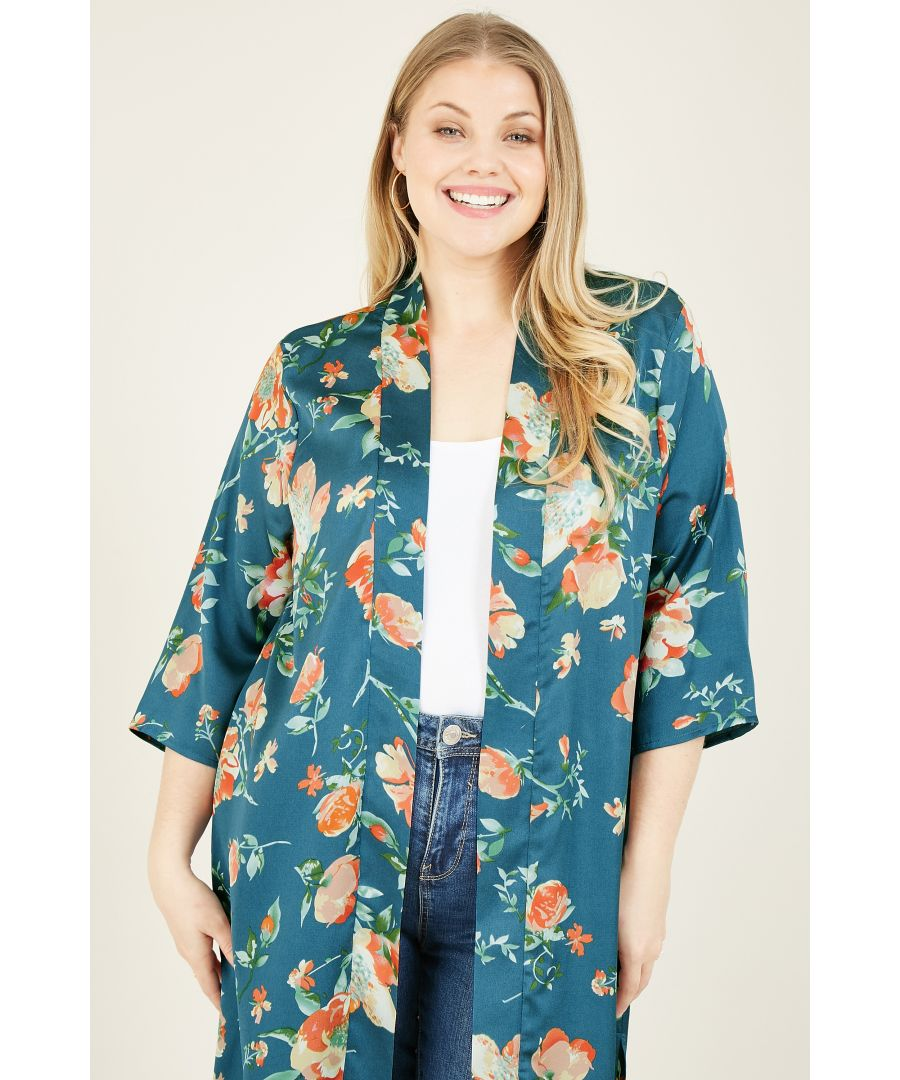 Image for Yumi Curve Teal Rose Floral Kimono