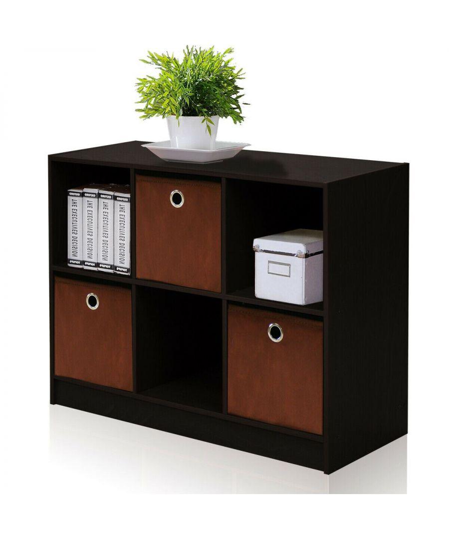 Image for Furinno Basic 3x2 Bookcase Storage w/Bins - Espresso/Brown
