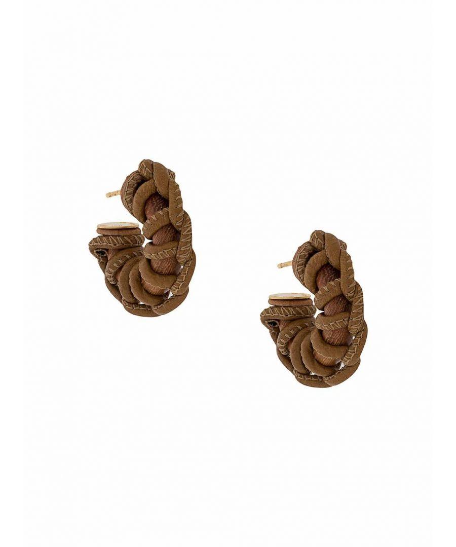 Image for BOTTEGA VENETA WOMEN'S 617717VAHUD2581 BROWN LEATHER EARRINGS