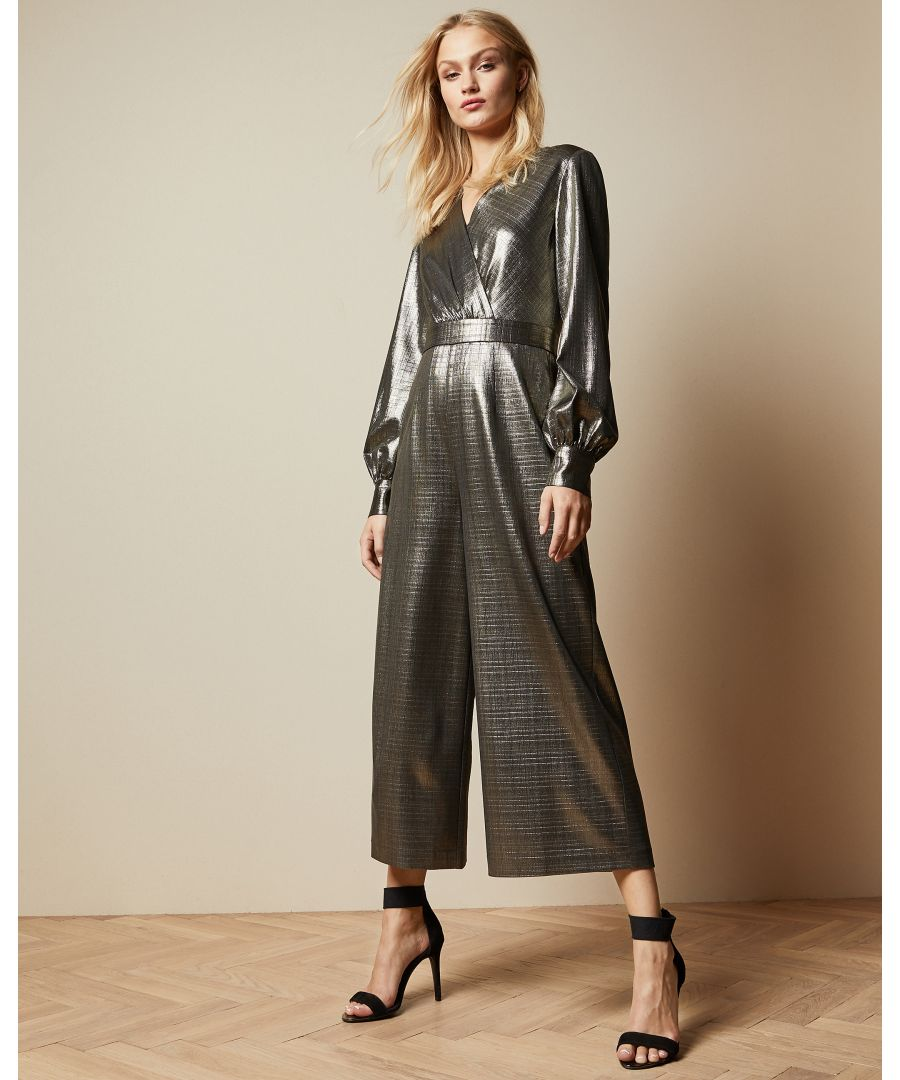 Image for Ted Baker Twigga Metallic Wrap Front Jumpsuit, Gold
