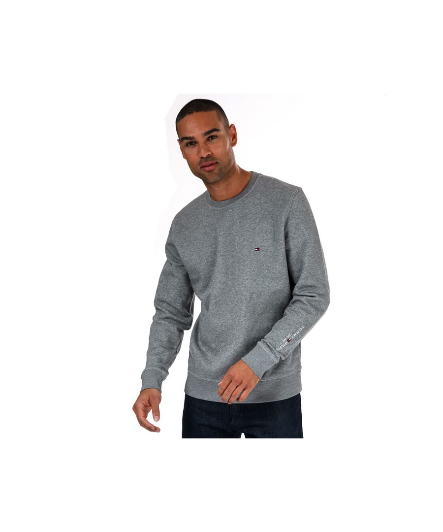 Image for Tommy Hilfiger Men's Tommy Sleeve Logo Sweatshirt in Charcoal Marl