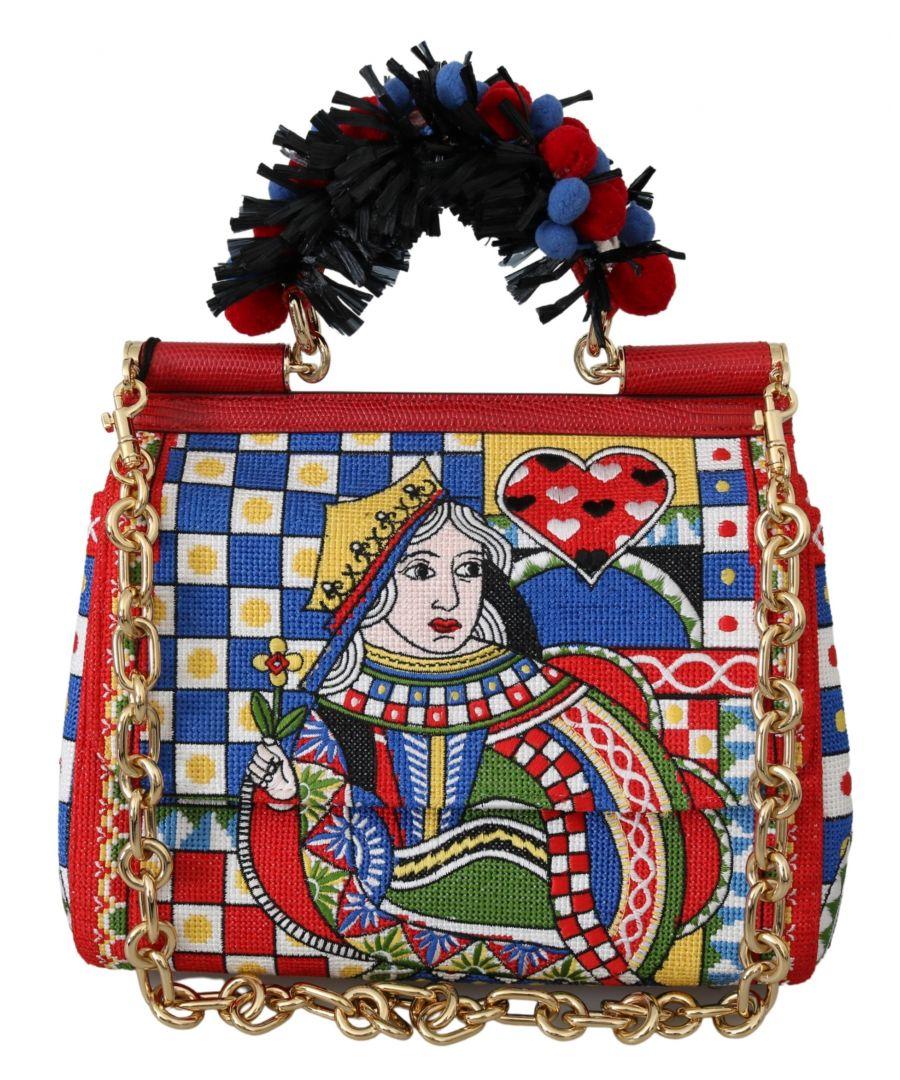 Image for Dolce & Gabbana Multicolor Queen Of Hearts Purse Satchel Sicily Bag
