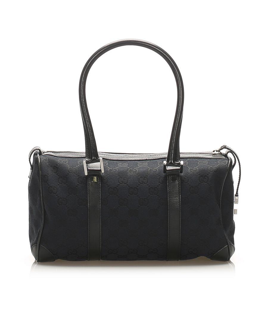 Image for Vintage Gucci GG Canvas Boston Bag Black