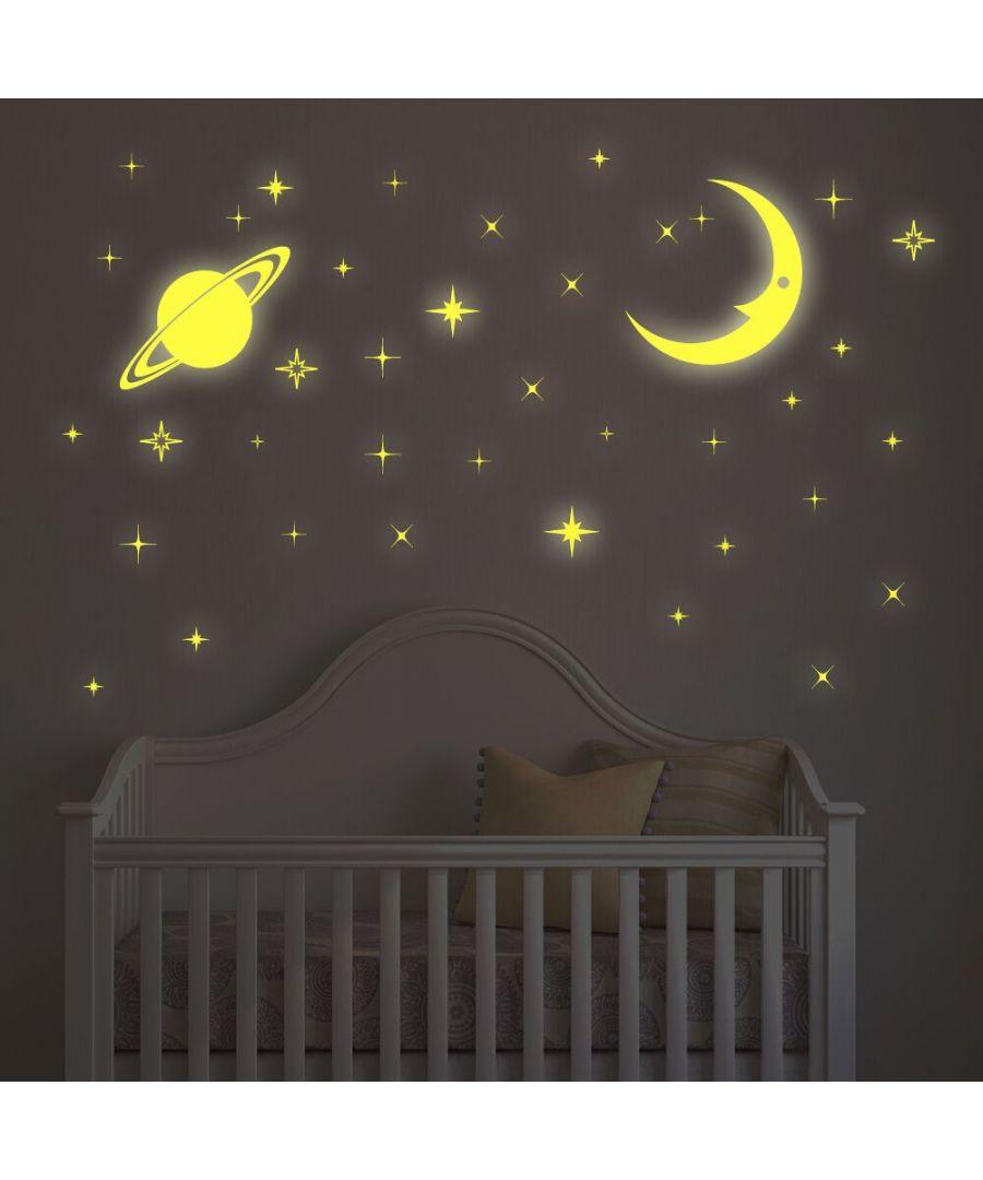 Image for Moon & Stars Glow Wall Stickers, Self Adhesive, DIY, Decoration, Kids Room, Nursery, Children's room, Boy, Girl