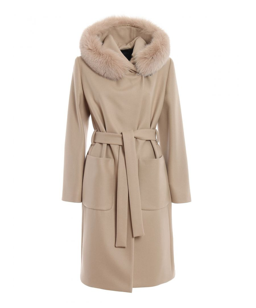 Image for FAY WOMEN'S NAW5439357URCPC002 BEIGE WOOL COAT