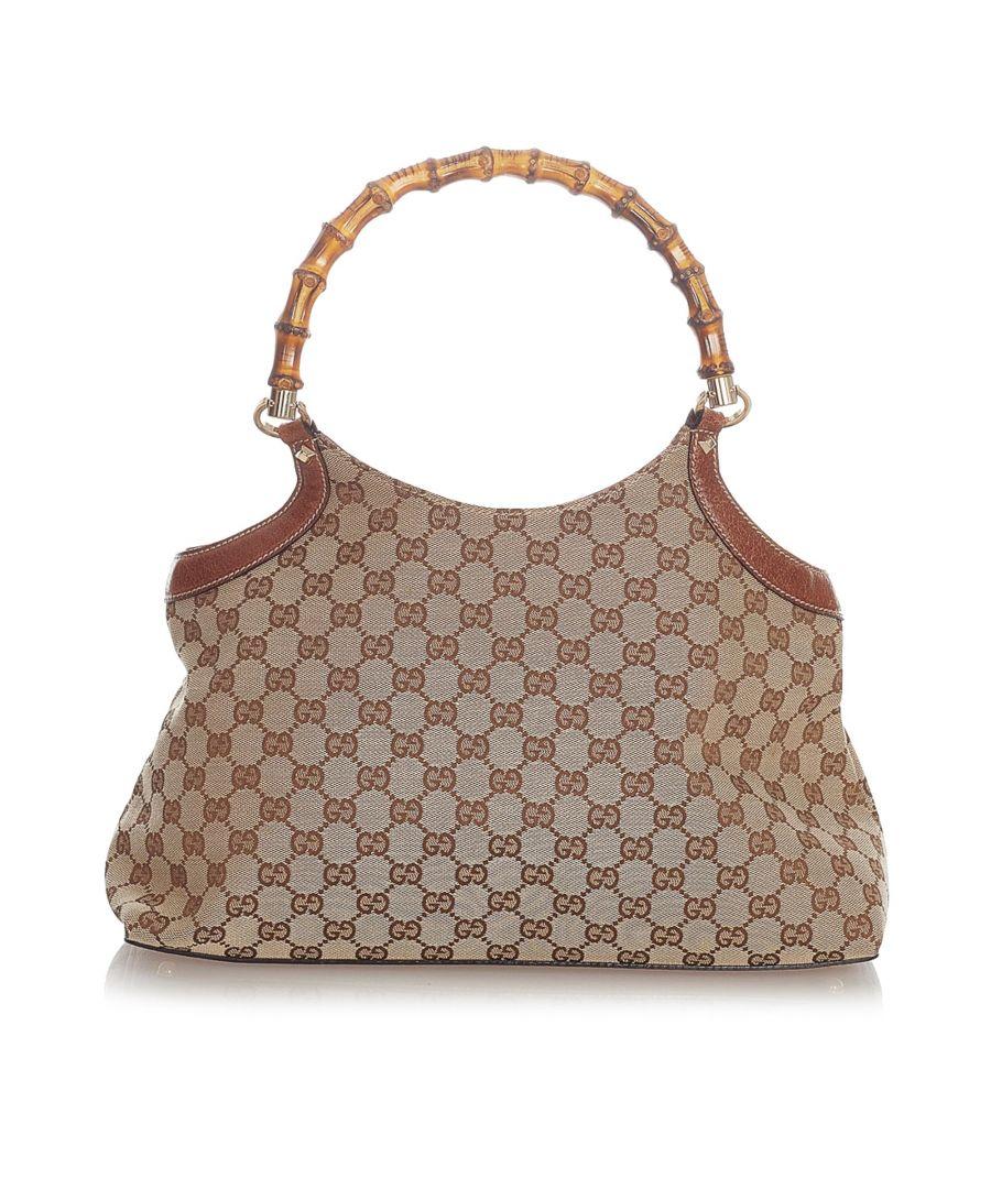 Image for Vintage Gucci GG Canvas Bamboo Handbag Brown