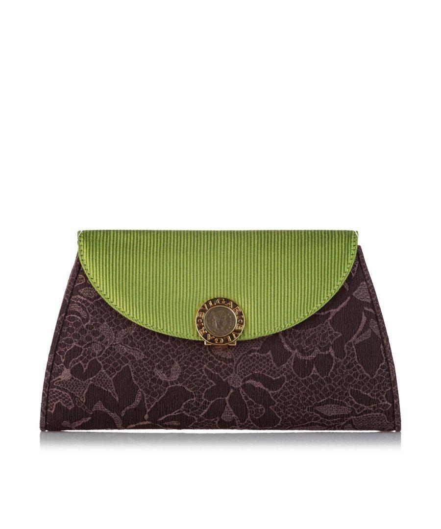 Image for Vintage Bvlgari Cotton Clutch Bag Brown