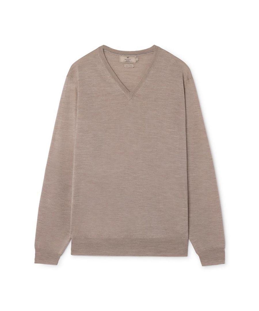 Image for Men's Hackett, Mayfair V Neck w/ Tipping Sweater in Beige
