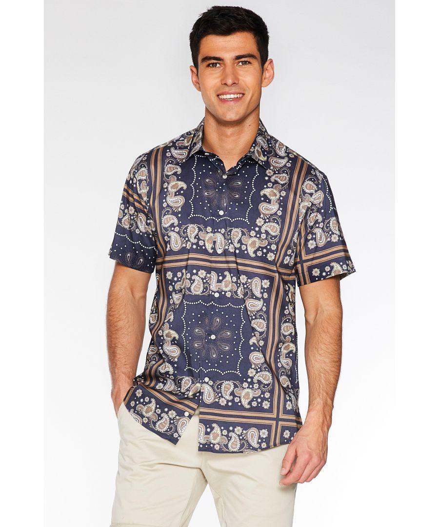 Image for Short Sleeve Block Paisley Print Shirt