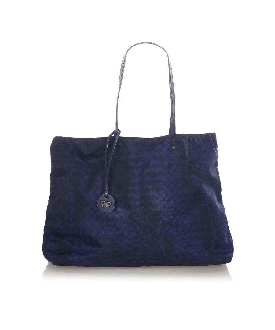 Image for Vintage Bottega Veneta Intrecciolusion Nylon Tote Bag Blue
