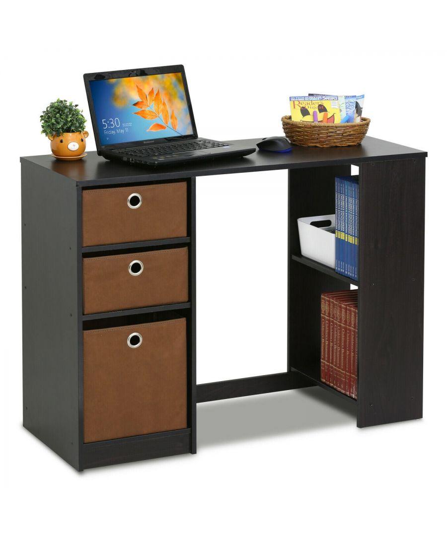 Image for Furinno JAYA Modern Computer Study Desk - Espresso