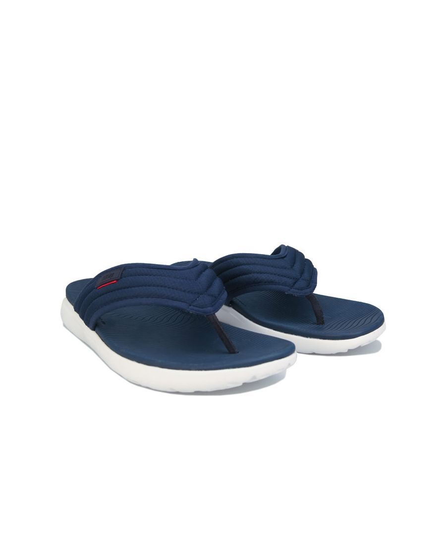 Image for Men's Fit Flop Kian Crosshatch Toe-Thong Sandals in Navy
