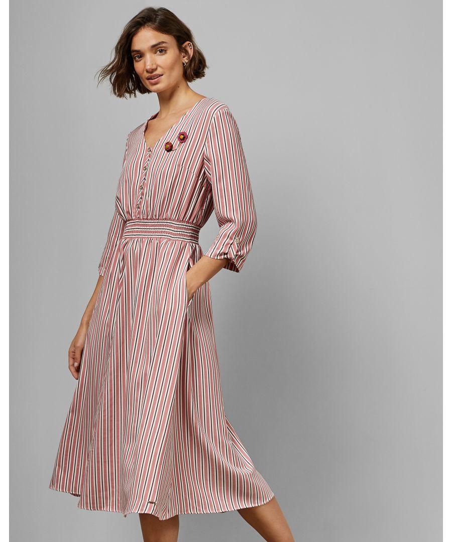 Image for Ted Baker Gymni Cbn V Neck Elasticated Dress, Pink